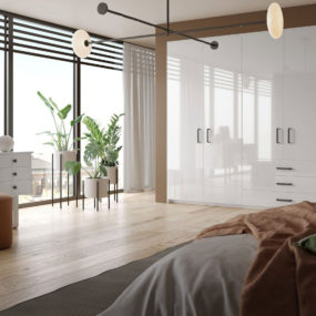 Beautifully fitted, modern and bespoke bedroom wardrobes will create a minimalist vibe.